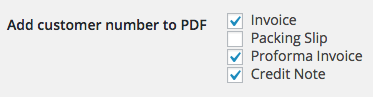 Customer Number on PDF documents