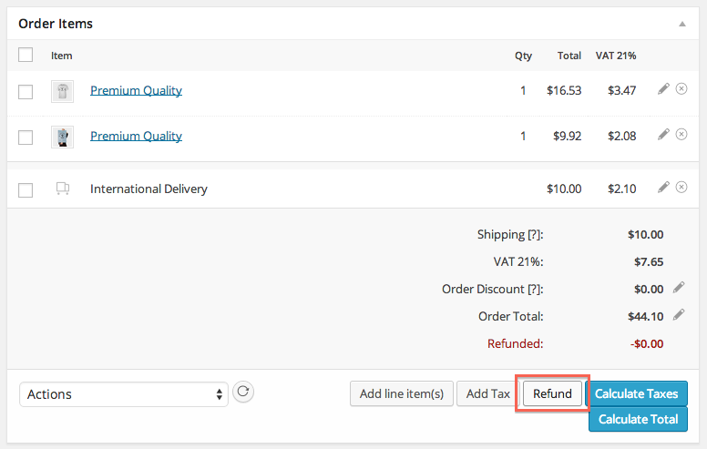 WooCommerce refunds step 1