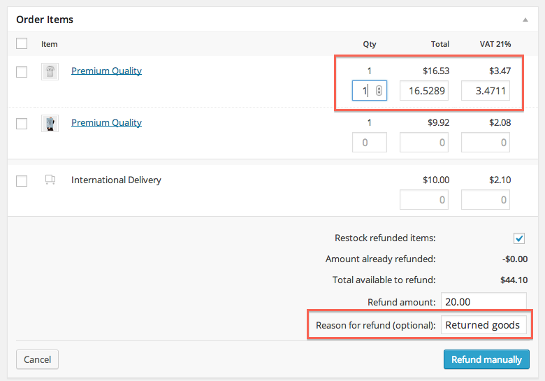 WooCommerce refunds step 2