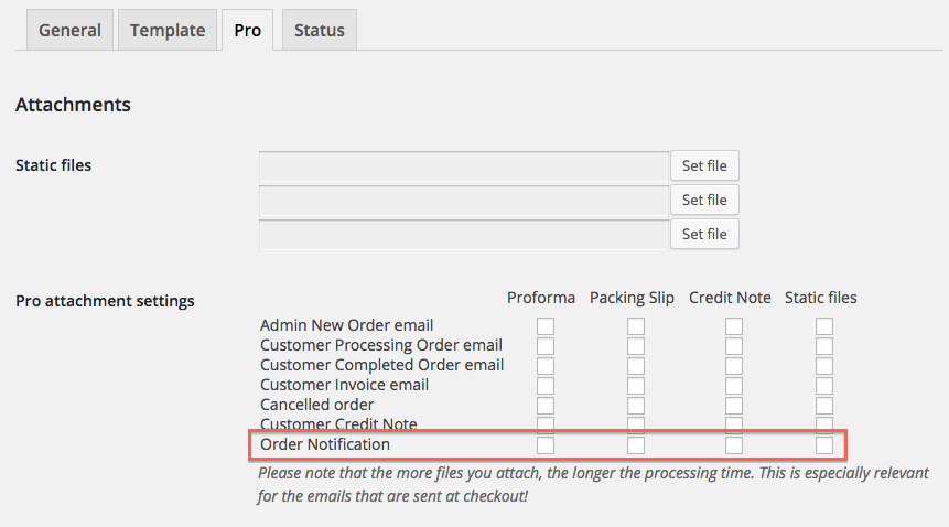 Order Notification attachment settings