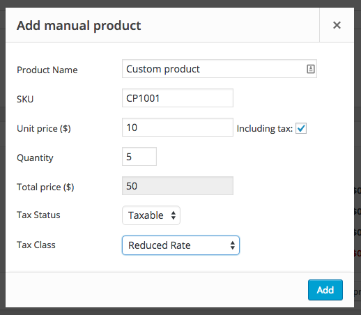 WooCommerce Quick Manual Product