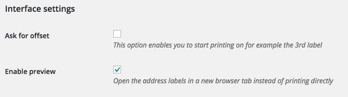 WooCommerce Print Address labels interface settings