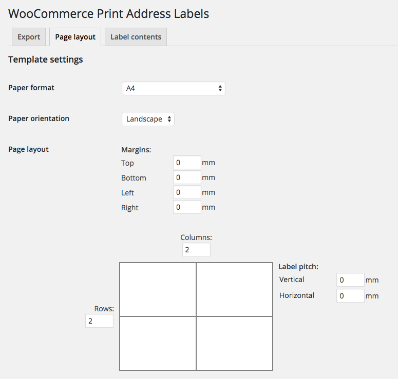 Print Address Labels page layout settings