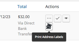 WooCommerce Print Address Labels print action